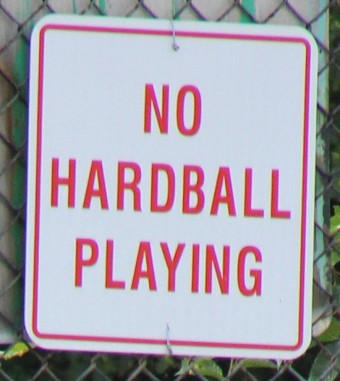 No hard balls allowed on the wiffle diamond; soft, but firm, foam balls only.