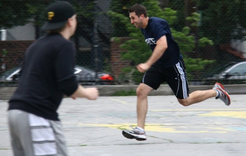 Mark races to first for one of his 6 base hits for the game