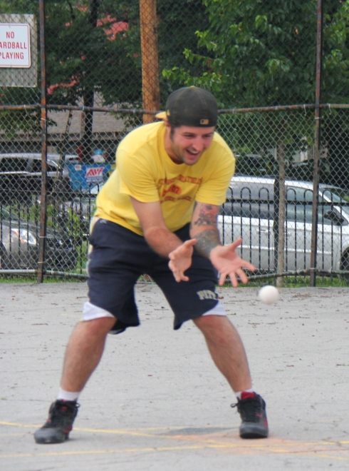 Helal snatches up a ground ball on the mound for Eastbound