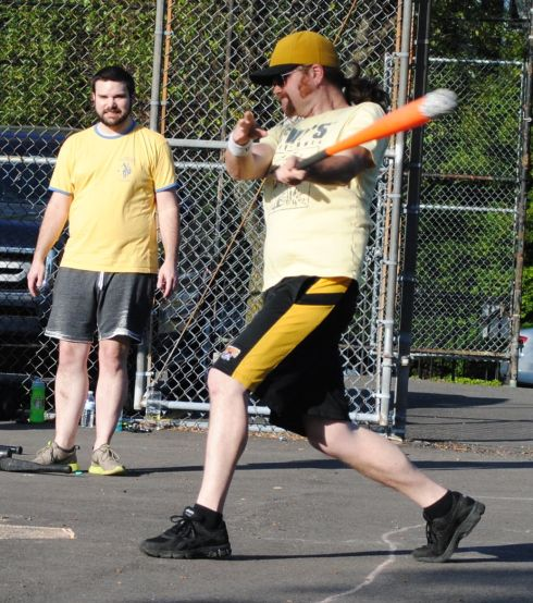 Nate connects on a double during Eastbound & Dahn's come-from-behind victory over Cookies & Cream