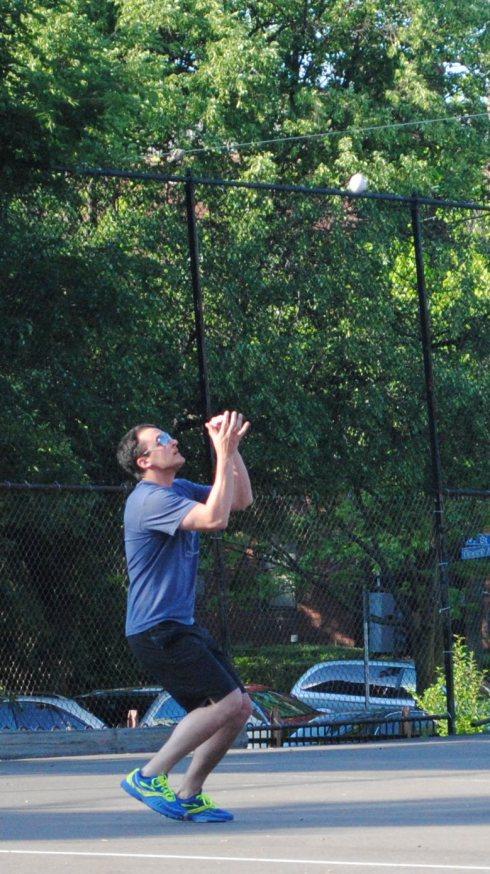 Morrison settles under a high fly ball