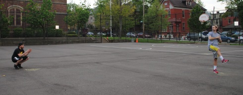 The first pitch of the fifth season of the Ellsworth Wiffleball League.