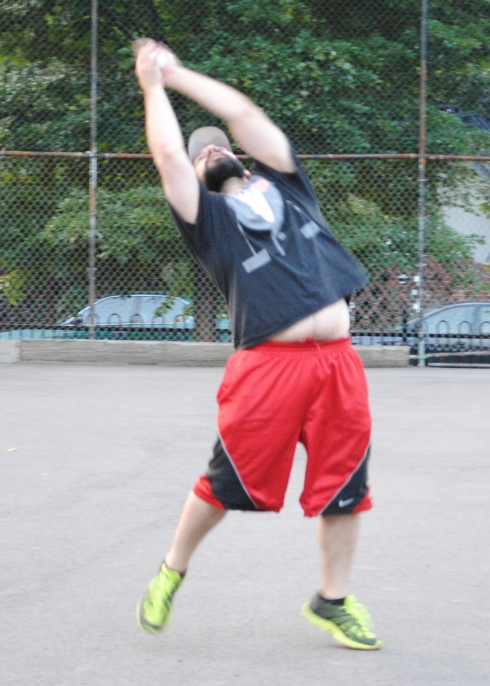 Blose makes a leaping catch in the field. He had 3 dboules, a homer, 4 RBI, and earned the save for Cookies