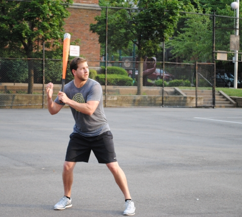 Tom prepares to catch a pitch he doesn't like. He had 2 doubles, 2 homers, and 2 RBI in the game.